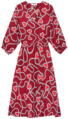 Chinti and Parker Berry Anni Heart Silk-twill Dress