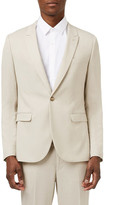 Topman Ultra Skinny Fit Stone Textured Suit Jacket