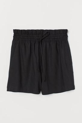 H&M Linen-blend Shorts High Waist - Black