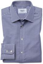 Slim Fit Large Puppytooth Blue Cotton Formal Shirt Single Cuff Size 14.5/33 by Charles Tyrwhitt