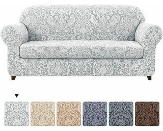 Overstock Subrtex 2-Piece Stretch Loveseat Couch Cover Jacquard Damask Slipcover