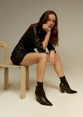 MANGO Elastic panels leather ankle boots black - 6 - Women