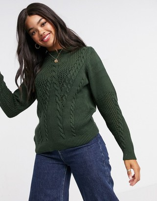Pieces sweater with cable detail in dark green