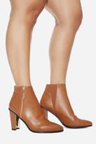 Fashion to Figure Moshi Metallic Heel Ankle Booties (Wide Width)