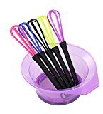 Anself 2 in 1 Hair Dyeing Bowl & Whisk Dye Cream Paint Stirrer DIY Hair Dyei Tool Random Color
