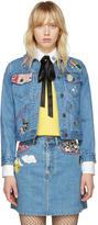 Marc Jacobs Indigo Denim Shrunken Embroidered Jacket