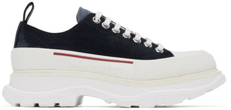 Alexander McQueen Navy and White Suede Tread Slick Platform Sneakers