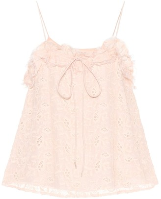 See By Chloã© Embroidered cotton and silk top