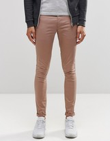 Asos Extreme Super Skinny Chinos In Pale Pink