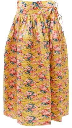Horror Vacui Toga High Rise Pleated Cotton Midi Skirt - Womens - Yellow Multi
