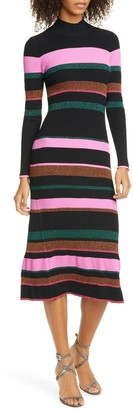 Tanya Taylor Velma Knit Stripe Midi Dress