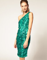 ASOS One Shoulder Sequin Dress with fitted waist