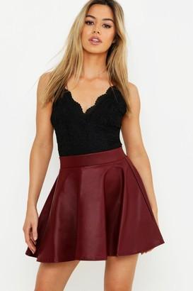 boohoo Petite PU Skater Skirt