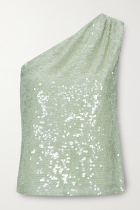 Sally LaPointe One-shoulder Sequined Crepe Top - Mint