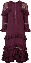 Elie Saab lace insert ruffled dress - women - Viscose/Polyester/Nylon/Silk - 40