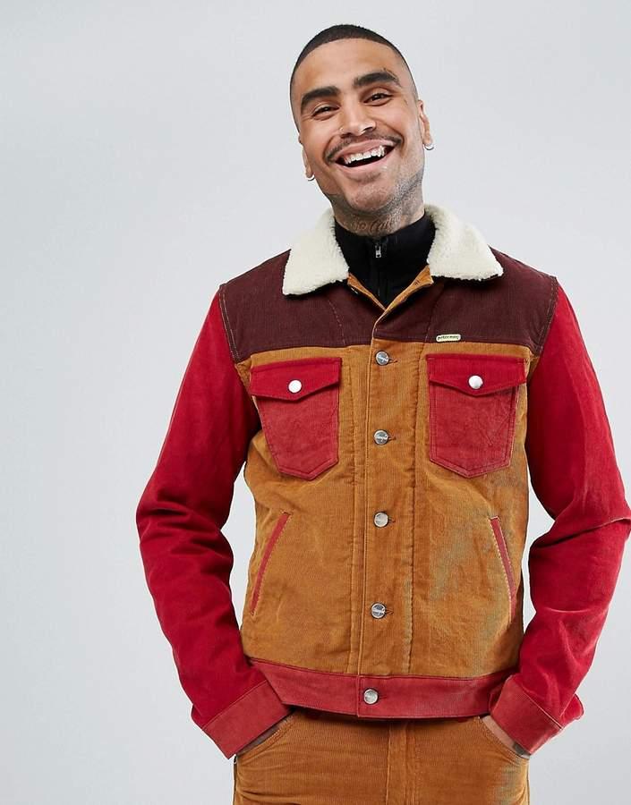 Wrangler Peter Max Western Sherpa Jacket Colourblock Cord