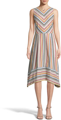 Label By 5twelve Striped Jewel-Neck Sleeveless Fit-&-Flare Dress