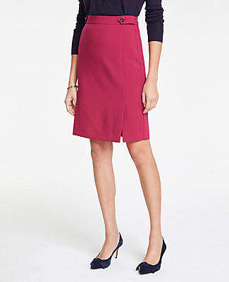Ann Taylor Curvy Button Tab Seamed Pencil Skirt