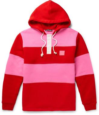 Acne Studios Oversized Logo-Appliqued Striped Fleece-Back Cotton-Jersey Hoodie