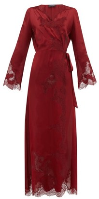 Carine Gilson Chantilly Lace-trimmed Silk-satin Robe - Womens - Red