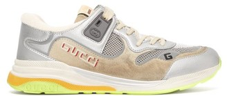 Gucci Ultrapace Distressed Leather And Suede Trainers - Mens - Silver