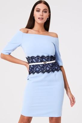 Paper Dolls Lowndes Blue Lace Waist Bardot Dress