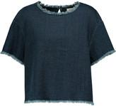 Simon Miller Mesa cropped cotton-chambray top