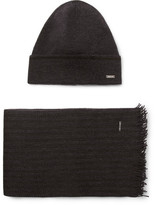 HUGO BOSS Marros Striped Virgin Wool-blend Hat And Scarf Set