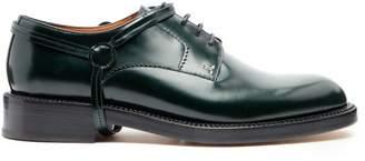 Lanvin Stirrup Effect Leather Derby Shoes - Mens - Green