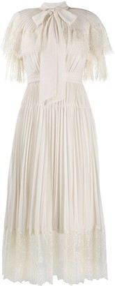 Self-Portrait Chiffon Tiered Midi Dress