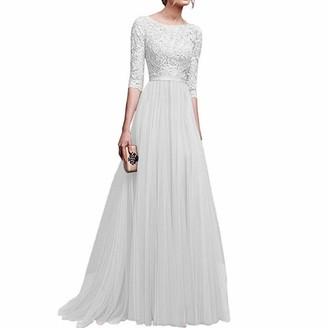 fagginakss Women Half Sleeve Chiffon Maxi Dress Cocktail Wedding Long Skirt Evening Gown Party Prom Dresses Autumn Winter Dress Blue