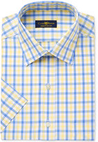 Club Room Men's Classic/Regular Fit Yellow Check Short Sleeve Dress Shirt, Only at Macy's