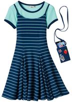 Knitworks Girls 7-16 Crop Top Tee & Dress with Crossbody Cellphone Purse Set