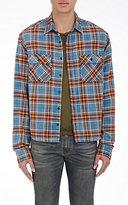 R 13 Men's Brushed Flannel Grunge Shirt-BLUE