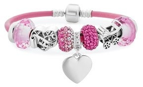 Bling Jewelry My Wife Heart Pink Crystal Bead Charm Bracelet Leather Sterling Silver