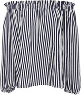 MDS Stripes Lauren Ruffled Peasant Top