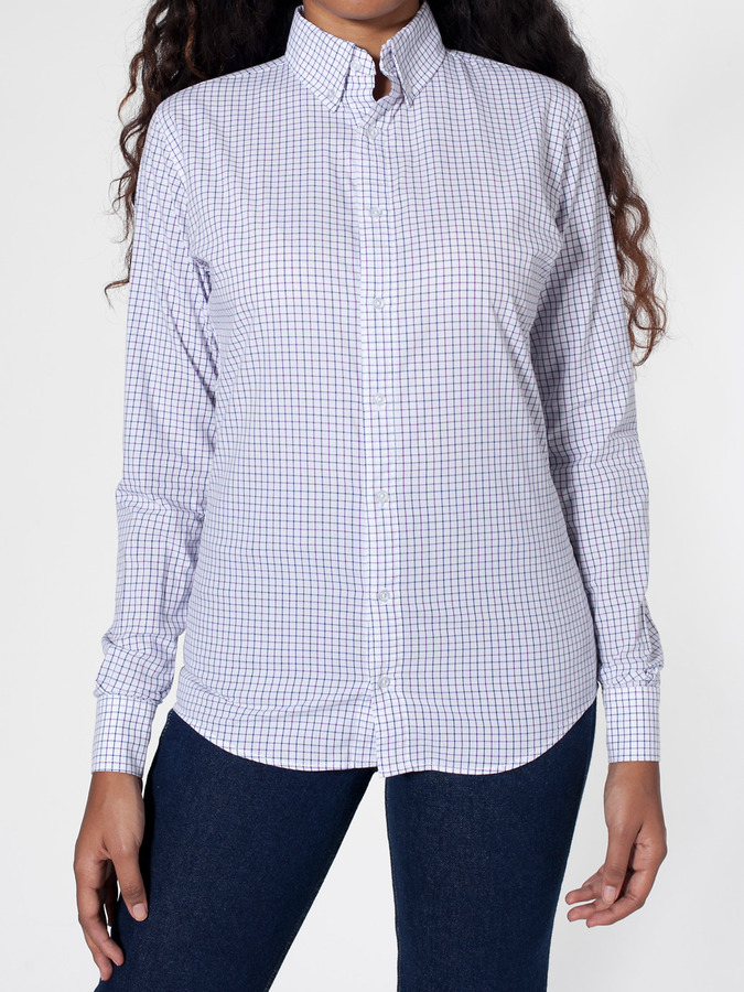 American Apparel Unisex Gingham Long Sleeve Button-Down