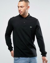 Lacoste Long Sleeve Pique Polo Regular Fit in Black