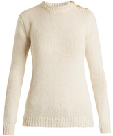 Balmain Button-shoulder crew-neck sweater