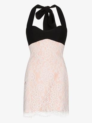 Rasario Halterneck Lace Mini Dress