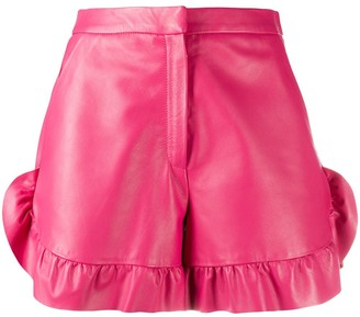 RED Valentino Leather Ruffle Shorts