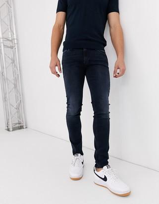 Jack and Jones Intelligence Liam skinny fit stretch jeans in blue black
