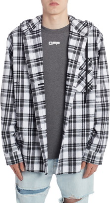 Off-White Check Flannel Hooded Button-Up Shirt