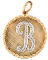 14K Diamond 'B' Medallion Pendant