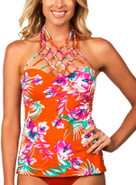 Leilani Orange Paradise Macrame Tankini Top