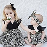 AMA(TM) Toddler Kids Baby Girls Summer Sleeveless Princess Dress Pageant Wedding Party Tulle Tutu Dresses +Headband Outfits Clothes Set (4T, Kids)