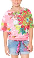 Desigual Pink Floral Blouson Tee - Toddler & Girls