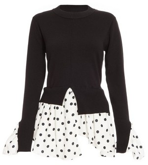 Dorothy Perkins Womens Black Polka Dot Layer Jumper, Black