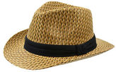 London Fog Straw Fedora with Trifold Contrast Band