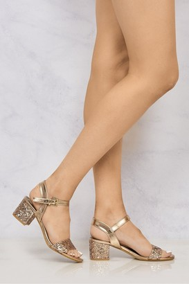 Miss Diva Ruby block heel glitter ankle strap In Rose Gold